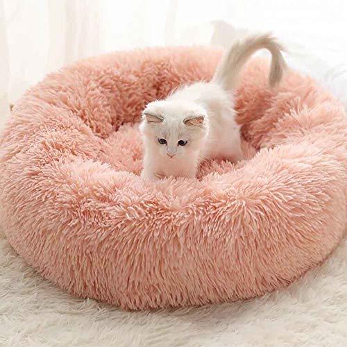 MTHDD Haustierbett für Hunde und Katzen Weiches Plüsch Donut Nestbett Rund Warm Kuschelig rutschfeste Unterseite Maschinenwaschbar,B,S:40CM