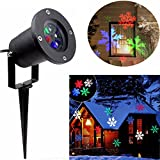 Christmas Projector Lights, PRODELI Snowflake Projector Xmas Light Outdoor Waterproof LED Landscape Lamp Indoor Garden Lawn Home Wall Window Decor Moving Sparkling Snowfall for Party Holiday[Colorful]