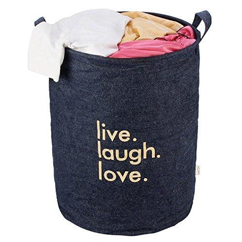 HOKIPO® Laundry Basket 51-Litre European Pattern Folding Denim 'Live Laugh Love' Laundry Hamper, (Blue)