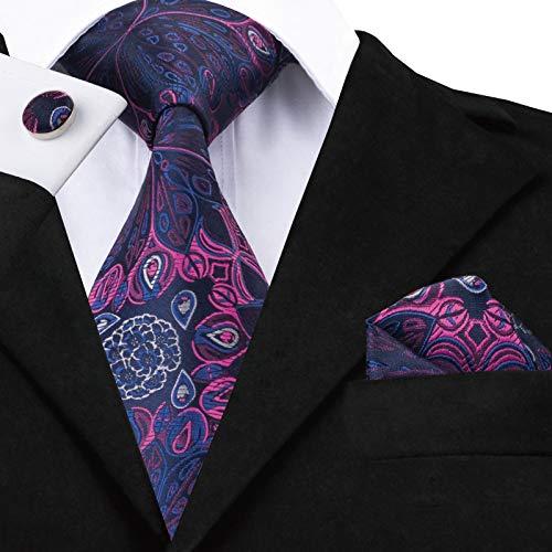 HYCZJH Mens Black Tie Silk Floral Krawatten Set für Männer Taschentuch Manschettenknöpfe Set Hochzeit Pary Business Luxury Neck Tie Set (Tie Silk Schwarz Floral)