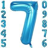 40-Zoll 0-9 in Blau Nummer Foil Ballons Helium Zahlenballon Luftballon Riesenzahl Party Hochzeit Kindergeburtstag Geburtstag Nummer 7