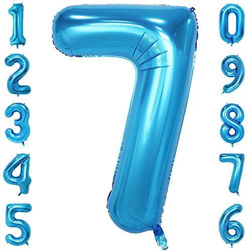 CHANGZHONG 40-Zoll 0-9 in Blau Nummer Foil Ballons Helium Zahlenballon Luftballon Riesenzahl Party Hochzeit Kindergeburtstag Geburtstag Nummer 7