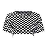 Women Fashion Plaid Cropped T-Shirt Summer Streetwear Checkerboard Corp Top (Large)