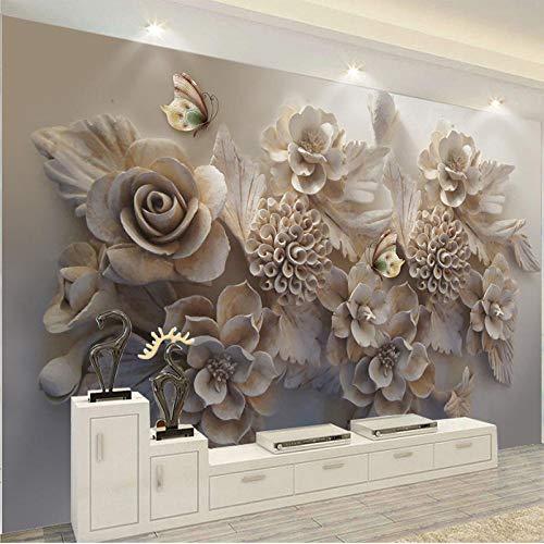 BYUVZHJ Papier Peint Papier Peint 3D Papier Peint Papillons Fleur 3D Papiers de Salon @ 250 * 175CM
