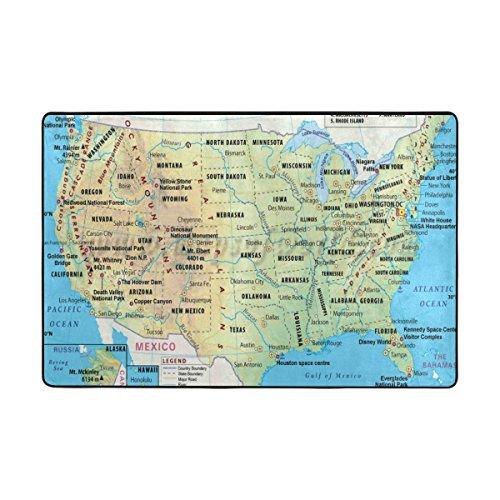 ingbags USA Karte Wohnzimmer Essbereich Teppiche 3x 2Füße Bed Room Teppiche Büro Rugs Moderner Boden Teppich Home Decor, multi, 3 x 2 Feet