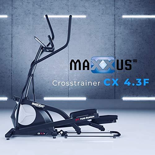 MAXXUS® CROSSTRAINER CX 4.3f, klappbar, mit elliptischem Bewegungsablauf (Ellipsentrainer), 26kg Schwungmasse, 51cm Schrittlänge. Platzsparend und stabil. Ideal für die Wohnung und kleine Trainingsräume. Transportrollen, Trainingsprogramme, HRC-Programme, Userprogramm, elektr. gesteuertes Magnetbremssystem, flache, elliptische Laufbewegung, robuster Stahlrahmen - 2