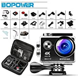 Action Cam 4K HD Wifi -Bopower Action Camera Impermeabile Sportiva Wi-Fi 16MP 170° Grandangolare con Telecomando Custodia Impermeabile e Kit di accessori, Nero