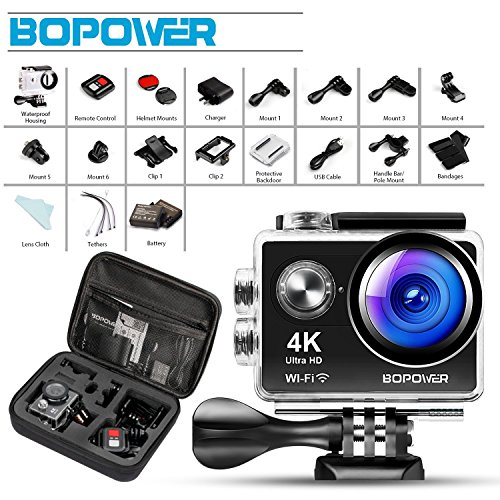 Galleria fotografica Action Cam 4K HD Wifi -Bopower Action Camera Impermeabile Sportiva Wi-Fi 16MP 170° Grandangolare con Telecomando Custodia Impermeabile e Kit di accessori, Nero
