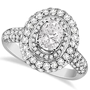 Allurez Oval Cut Moissanite and Diamond Double Halo Ring 14K W. Gold 2.09ctw - T