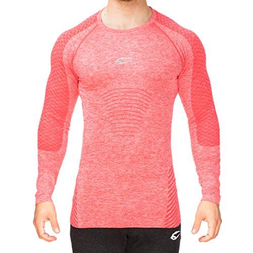 SMILODOX Slim Fit Longsleeve Herren | Seamless - Funktionsshirt für Sport Fitness Gym & Training | Langarmshirt - Trainingsshirt Langarm - Sportshirt mit Aufdruck, Farbe:Rot, Größe:M