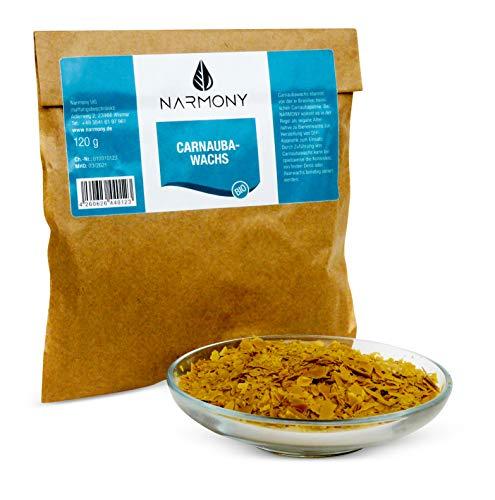NARMONY Bio-Carnaubawachs aus Brasilien 120g   Kosmetischer Rohstoff DIY Naturkosmetik   Vegane Alternative zu Bienenwachs
