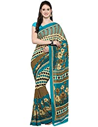 VARAYU Women's Beige And Rama Georgette Designer Printed Saree With Unstitched Blouse(536SJ41,Beige And Rama)
