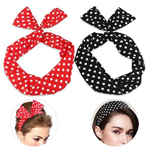 Polka Dots Haarband Rockabilly Aphrodite Beauty Care I Haarschmuck rot schwarz I Stirnband mit biegbarem Draht I 2 ()
