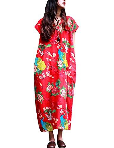Youlee Damen Sommer V-Ausschnitt Gedrucktes Kleid Style 2 Rot
