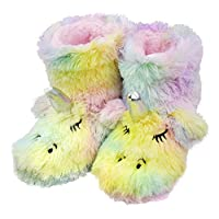 Tirzrro Girls/Kids Cute Unicorn Slippers with Warm Plush Fleece Indoor Outdoor Slip-on Booties Size: 8-9 Toddler