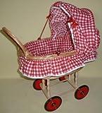 BAMBOLE BUGGY Pu-basket trolley m.Garnitur, / diamanti bianchi rossi
