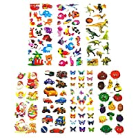 ExeQianming 3D Stickers Kids Puffy Stickers for Rewarding Gifts Scrapbooking, 240pcs (Animals, Fish, Dinosaurs, Fruits, Car, Butterfly, Santa Claus)