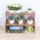 ZHANG3 Rack d'étagères d'affichage de Pot, Décoration de Bureau Simple et Moderne Mini Support de Fleurs Cuisine/Maquillage Couleur du Bois 47X21X30cm