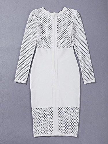 HLBandage Women's Sexy Long Sleeve Net Knee Length Bandage Dress Blanc