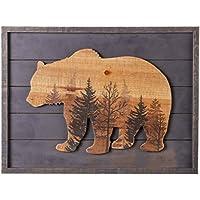 NIKKY HOME decorativo con marco de madera de pared Art Prints - en marrón oso bosque, Gray
