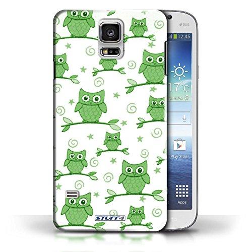 Etui / Coque pour Samsung Galaxy S5/SV / Jaune/Violet conception / Collection de Motif Hibou Vert/Blanc