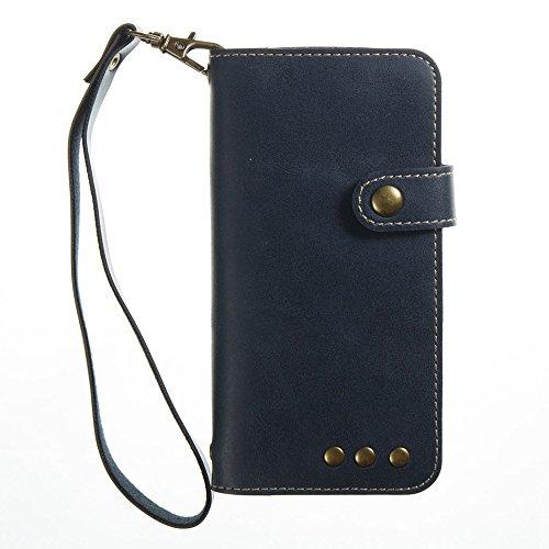 JIALUN-Telefon Fall Retro Folio Horizontale Flip Stand Case mit Magnetniet Verschluss & Card Slots & Lanyard für iPhone 5s & SE ( Color : Red ) Blue