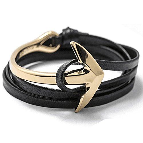 Leder Anker Armband / Goldverschluss / Schwarz und Rot / Accessoire / Kette für Männer und Damen - Viele Varianten Panelize C. & A. (Mann Kostüm Hipster)