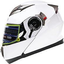 Casco Moto Modular ECE Homologado - YEMA YM-925 Casco de Moto Integral Scooter para Mujer Hombre Adultos con Doble Visera-Blanco-L