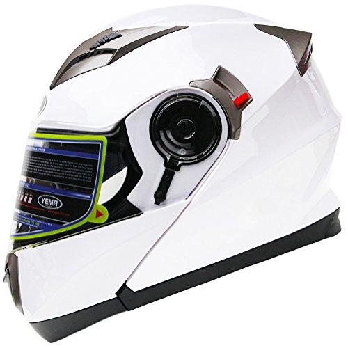 Motorradhelm Klapphelm Integralhelm Fullface Helm - Yema YM-925 Rollerhelm Sturzhelm mit Doppelvisier Sonnenblende ECE für Damen Herren Erwachsene-Weiß-L