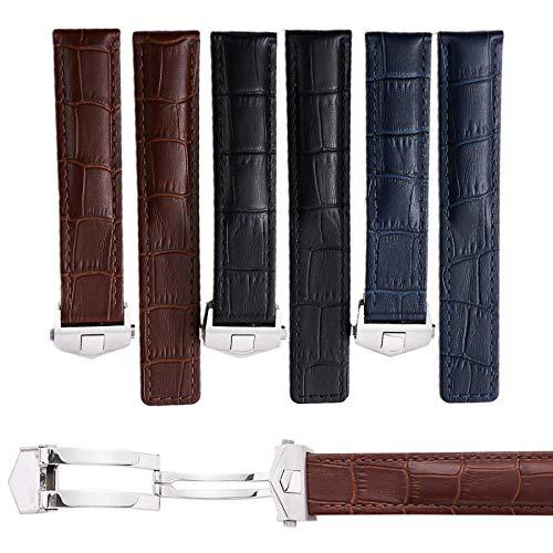 Dismay Uhrenarmband aus Leder für Männer 19mm - 22mm Schwarz Braun Blau (19mm, Braun)