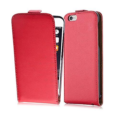 Cadorabo - Etui Housse Coque pour Apple iPhone 6 / 6S en Flip Style - Case Cover Bumper Portefeuille de Simili Cuir Lisse en ROUGE CERISE