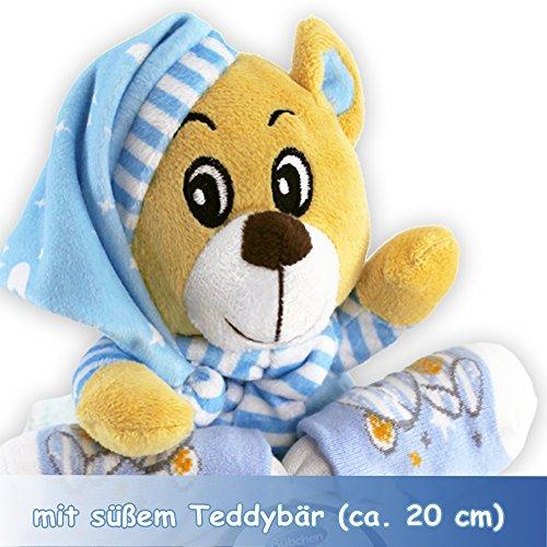 Windeltorte Windelmotorrad blau für Jungen – mit Teddybär / Das perfekte Geschenk zur Geburt oder Taufe + gratis Grußkärtchen - 2