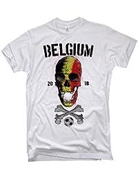 NG articlezz Camiseta de los Hombres Bélgica Calavera con Frontal Y Estampado EN la Espalda Copa del Mundo de Fútbol 2018 Bélgica s-5xl
