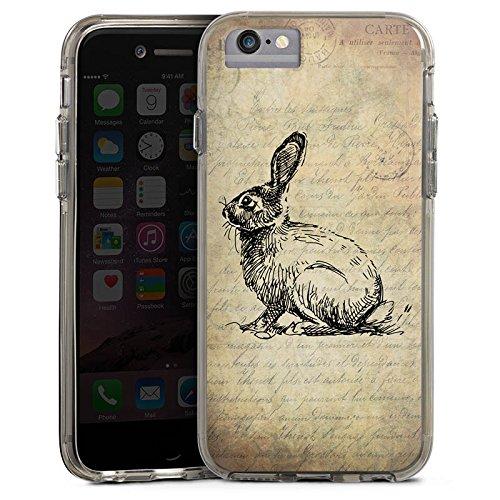 Apple iPhone 6 Plus Bumper Hülle Bumper Case Glitzer Hülle Hase Haeschen Bunny Bumper Case transparent grau