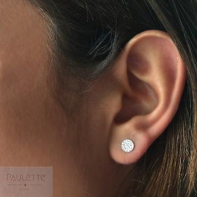 Boucles d'oreilles puces rond / cercle martelés en Argent 925 ou Plaqué Or