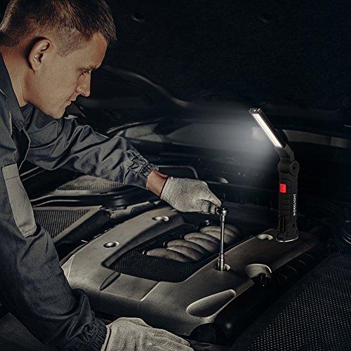 confronta il prezzo Coquimbo COB Lampade di ispezione USB ricaricabile LED da lavoro Pieghevole Torcia con magnetica clip e gancio per Auto/Campeggio/Home e di emergenza uso (20.3x3.5cm) miglior prezzo