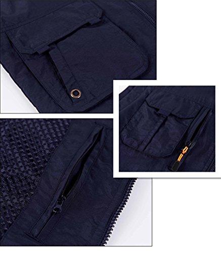 Herren Outdoor Weste Multi-Tasche Anglerweste Weste Weste Weste Jagd Photographie Weste praktischen Taschen Blau