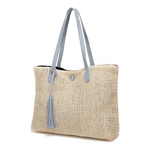 Peng Sheng Strohtaschen großer Strandkorb Korb Einkaufstasche Quaste Tasche mit Ledergriffe Einkaufskorb groß natur