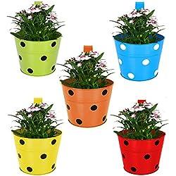 Trust Basket Single Pot Railing Planter (Multicolour, Pack of 5)