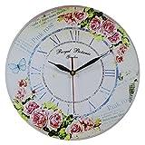 Obique Estilo Vintage decoración del hogar Shabby Chic, Reloj de Pared con Escena de Rosas de Color Rosa y Mariposa, con números Romanos Hecho de MDF