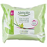 Simple Kind to Skin Cleansing Facial Wipes 25 Pieces (Pack of 6)