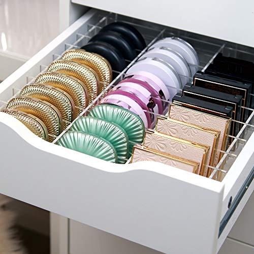 TidyUps DIVIDERS for COMPACTS | Trennstege-Set als Schubladeneinsatz für IKEA Alex 9 | Kosmetik Organizer für Puderdosen aus Acryl (42cm)