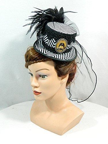 z weiß gestreift Eule Schleier Damenhut Minihat Fascinator (Steampunk Eule Kostüm)