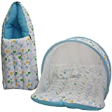 Vadmans Baby Mattress With Mosquito Net, Sleeping Bag 0-3 Months (Blue)