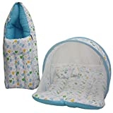 KIddosCare Combo Baby Mattress with Mosquito Net, Sleeping Bag 0-3 Months (blue) Ideal for New born baby (Print may vary)
