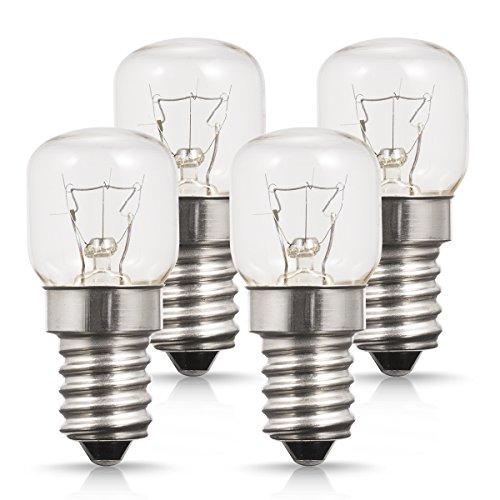 TECHGOMADE E14 Kleine Edison Screw Base, Ofen Glühbirnen, Wolframlicht, 25W Halogenlampe, 2700K Warmweiß, Nicht Dimmbar, 4er Pack -