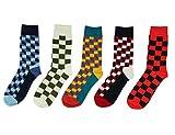 Lot de 5 Paires Chaussettes pour Homme Coton Fantaisie Imprimé Socks 41-45 Type 1