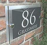 MODERN HOUSE SIGN PLAQUE DOOR NUMBER STREET GLASS EFFECT ACRYLIC ALUMINIUM NAME PARA5-28WA-S-C