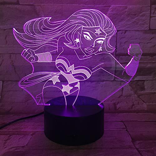 3D Nachtlicht Wonder Woman 3D Lampe 7 Farbe Led Nachtlampen Für Kinder Touch Led Usb Tisch Baby Schlafen Nachtlicht LXKEM