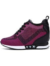 tqgold Zapatillas de Deporte Zapatillas Altas Para Mujer Tacón Cuña 8CM